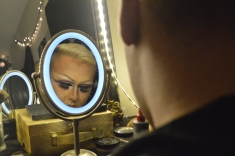 Austin Evans preparing for his drag queen performance on March 30, 2017. Morgantown, WV. Photo by Amber Swinehart.