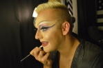 With careful precision, Evans applies his makeup for the evening's drag show that will be held at Vice Versa in downtown Morgantown.