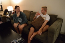 "After a weekend-spent at home away from WVU for the Easter holiday, Evans and his friend, Jaclyn Conrad, share a moment during their Monday night ""boxed wine and movies"" endeavor."
